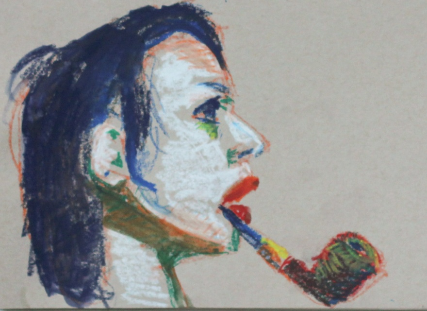 #1004 Short haired woman with pipe
